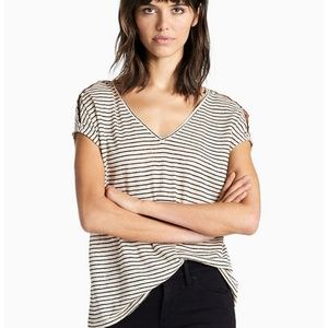 Tops - Lucky Brand Striped V-Neck Top Size Small